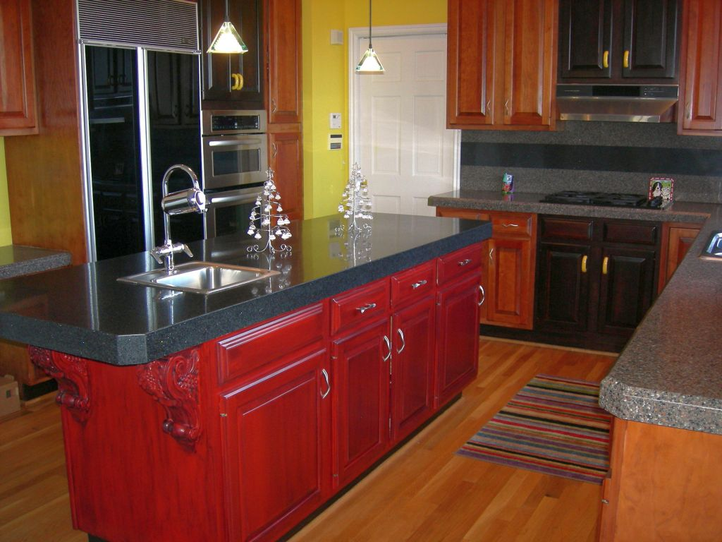 Red and black panels in wooden floor ideas for cabinet doors for Black kitchen cabinets with wood doors