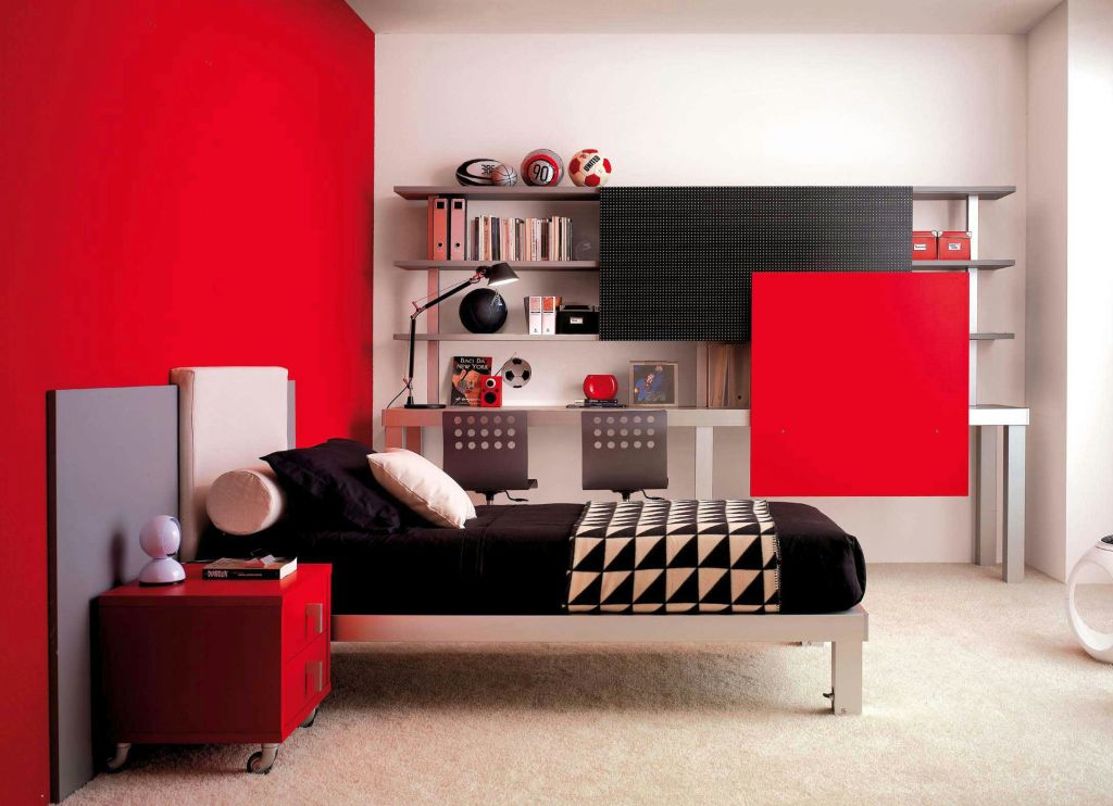 red black and white bedroom decorations