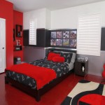 red black and white bedroom ideas with red floor