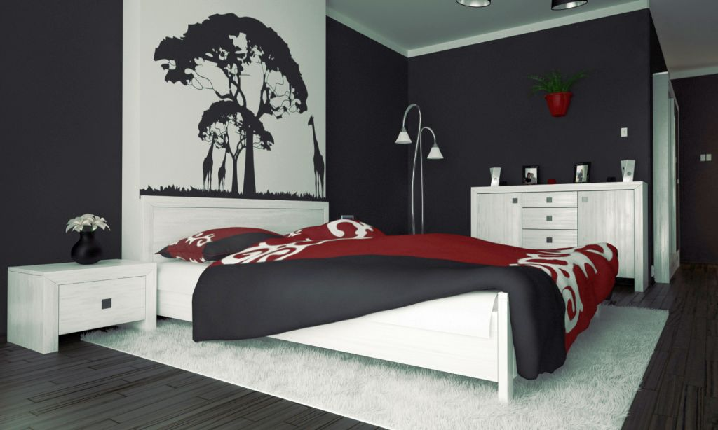 red black and white bedroom ideas with tree painting above