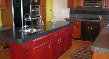 red lacquer kitchen cabinet for kitchen island