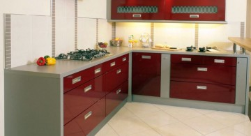red lacquer kitchen cabinet for narrow kitchen