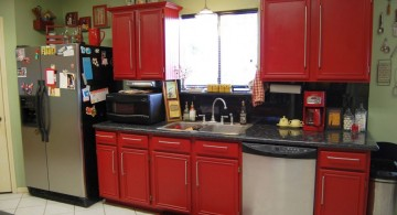 red lacquer kitchen cabinet for small kitchen