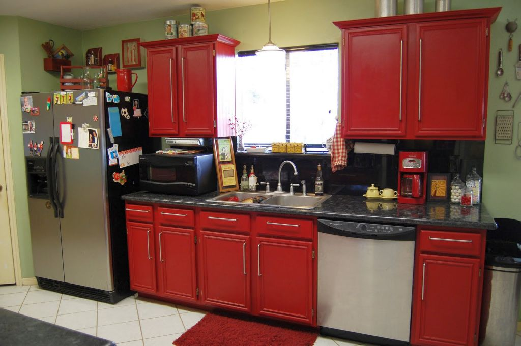 Red Painted Kitchens red kitchen cabinet. reddish brown kitchen cabinets at the home
