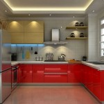 red lacquer kitchen cabinet in grey color scheme