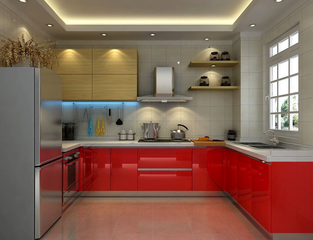 Red Lacquer Kitchen Cabinet In Grey Color Scheme - Red and grey kitchen cabinets