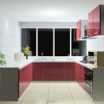 red lacquer kitchen cabinet in white and grey color scheme