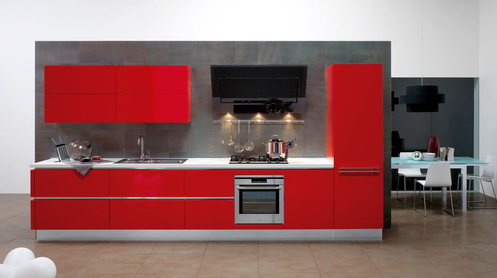Red lacquer kitchen cabinet on industrial grey wall for for Grey kitchen cabinets with red walls