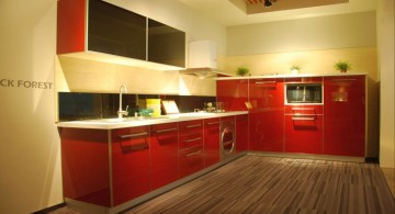 red lacquer kitchen cabinet with wooden floor