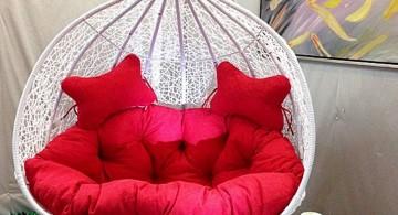 red loveseat bedroom swing chair