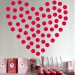 red polkadot heart diy bedroom art