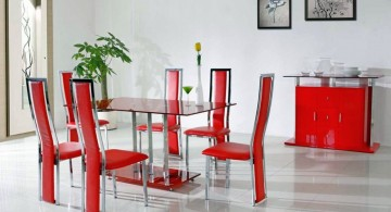 red with unique lining multi colored dining chairs