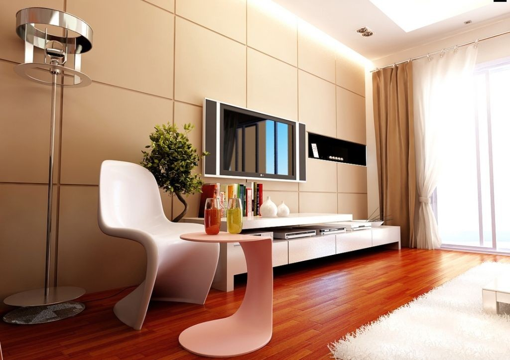 retro contemporary beige living room walls