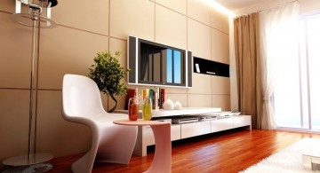 retro contemporary beige living room walls