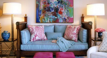 retro living room ideas in blue and pink