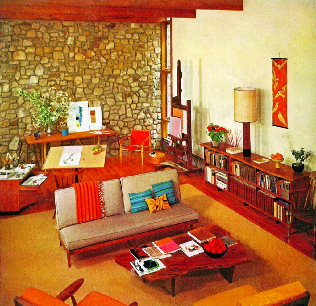 Retro living room ideas with wooden floor for Retro style living room ideas