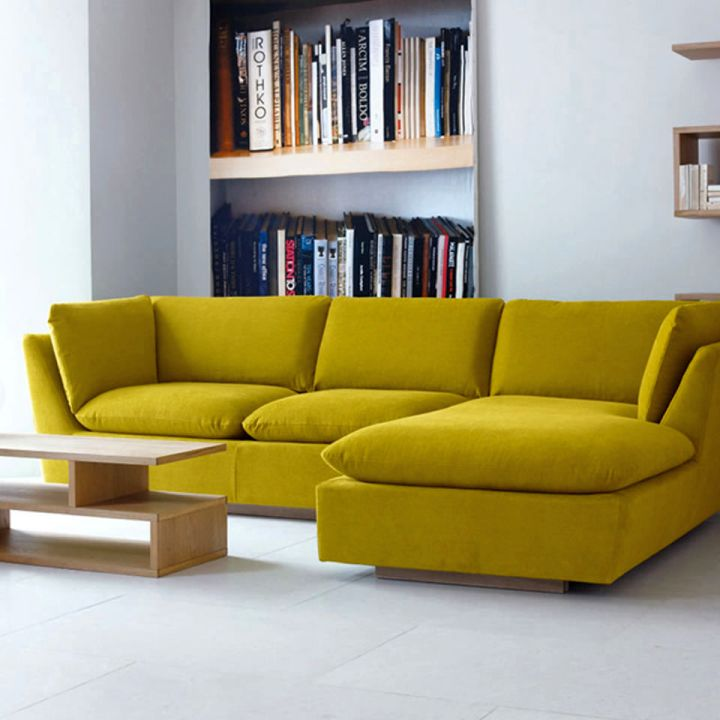 retro modular sofas in yellow