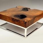 reused wood with metal wiring wood coffee table designs