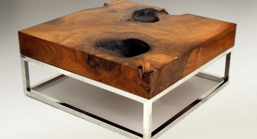 reused wood with metal wiring wood coffee table designs