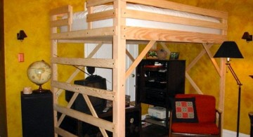rustic adult loft bed with stairs