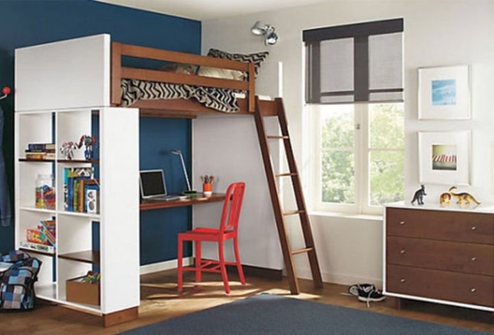 & rustic adult loft bed with stairs for small rooms