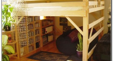 rustic adult loft bed with stairs with bookshelf at the bottom