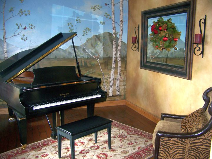 rustic and classy music room designs with painted wall
