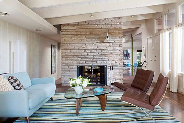rustic and simple blue and brown living room