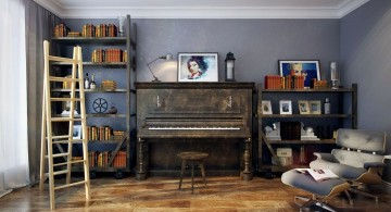 rustic and simple music room designs