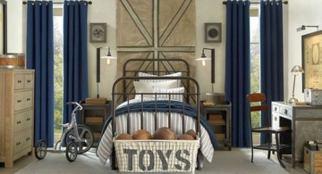 rustic hockey bedrooms in blue and wheat tones