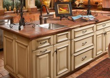 rustic kitchen island with sink