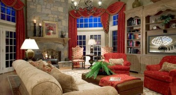rustic living room ideas in grey with red accent
