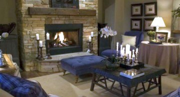 rustic living room ideas in stonewashed grey and blue