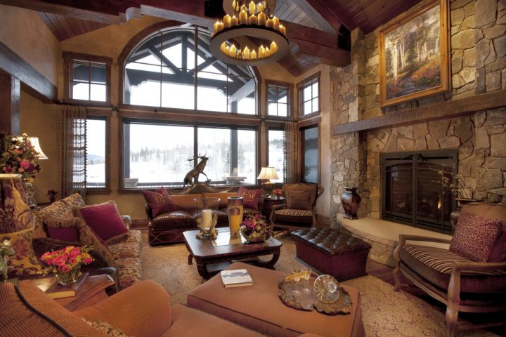 rustic living room ideas with chandelier and French windows