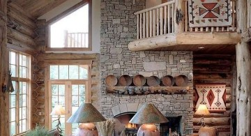 rustic living room ideas with indoor balcony