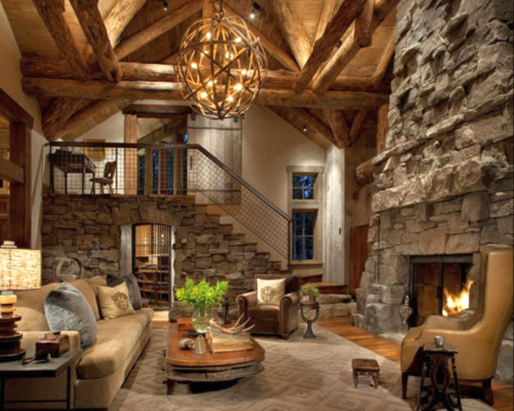 Rustic living room ideas with tall stone fireplace for Living room ideas rustic