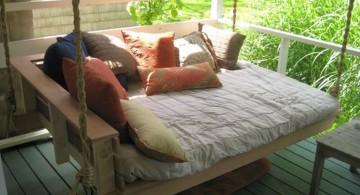 rustic outdoor hanging swing bed