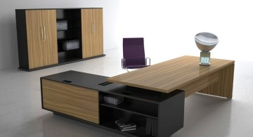 rustic sleek office desk with black shelf