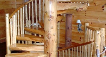 rustic spiral wooden staircase designs