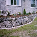 rustic style stones for flower beds