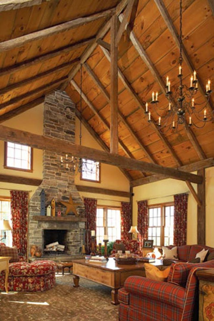 Rustic vaulted ceilings with chandelier for Home plans with vaulted ceilings