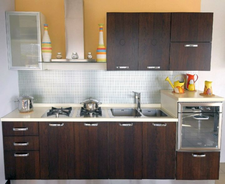 rustic with polished dark woods modular kitchen designs