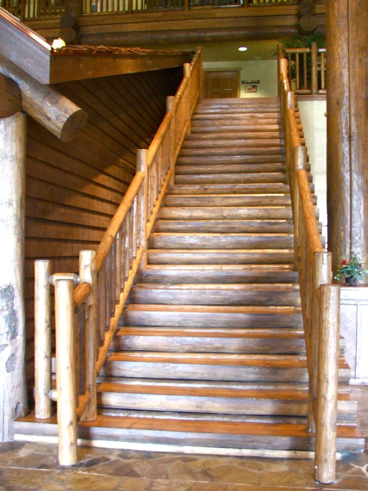 rustic wooden stairs with white linings