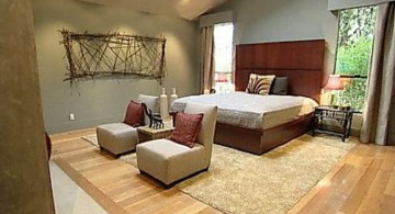 rustic zen bedroom ideas with panel as headboard