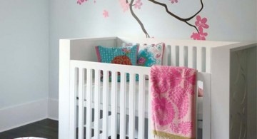 sakura branch pink and black wall decor for nursery