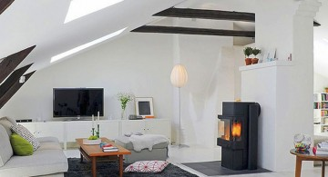 scandinavian fireplace design ideas for rooftop room