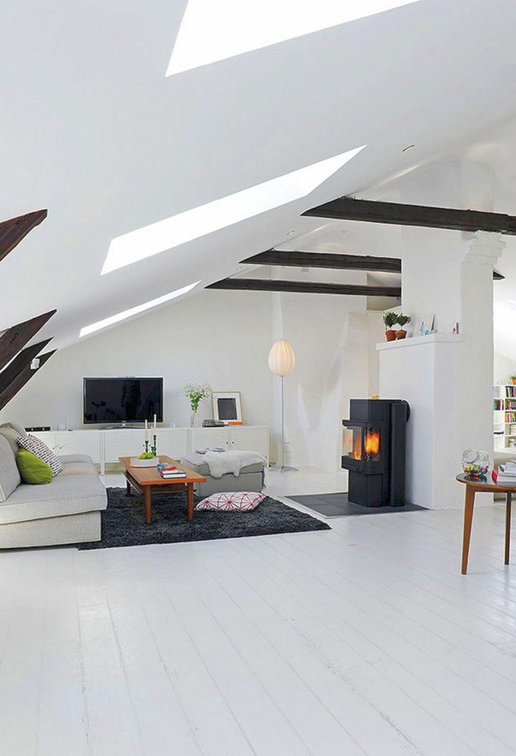 Scandinavian Fireplace Design Ideas For Rooftop Room