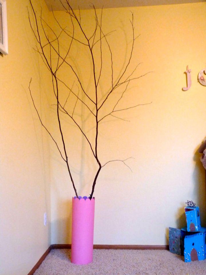 simple DIY floor vase with branches