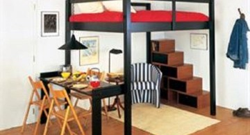 simple adult loft bed with stairs in black and red