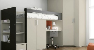 simple and contemporary loft bed with desk white